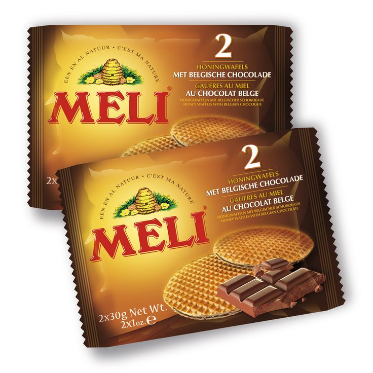Een krokante wafel met zachte vulling en echte Belgische chocolade. Meli heeft zijn eigen recept: met veel echte boter voor een krokante wafel, met honing voor een zachte vulling en chocolade.