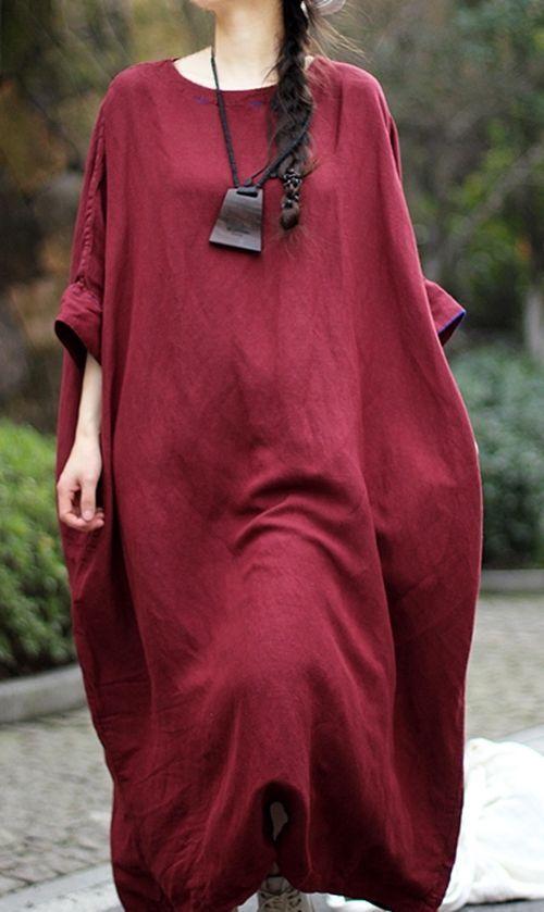 T11 Loose Fit Oversize Maxi Bat-Wing Linen Women's Long Dress Arab Kaftan Pocket #YFS #Maxi #Casual