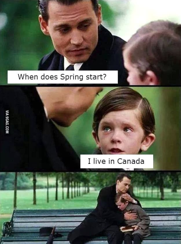 Meanwhile in Canada lol. Yep it can go from winter weather one day, to summer weather the next.