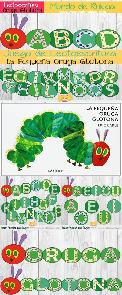 lectoescritura, oruga glotona actividades, oruga glotona juego, very hungry caterpillar, oruga glotona, very hungry caterpillar activities, very hungry caterpillar games, very hungry caterpillar printables, aprender letras, abecedario, juego de letras