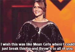 Jennifer Lawrence references Mean Girls while accepting her People's Choice Award...I love her!