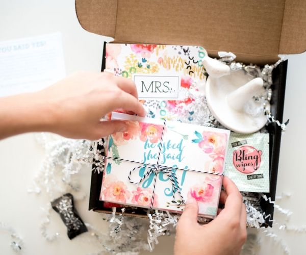 engagement gift box for just engaged friend or daughter in law