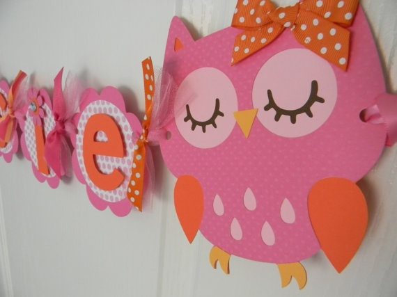 Reagan's party theme. Orange and pink owl party:) It's only 8 months away. haha...... Carrie leahy