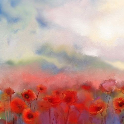 Scenic watercolour, red poppy field wallpaper mural. Perfect for calming interiors inspired by nature.