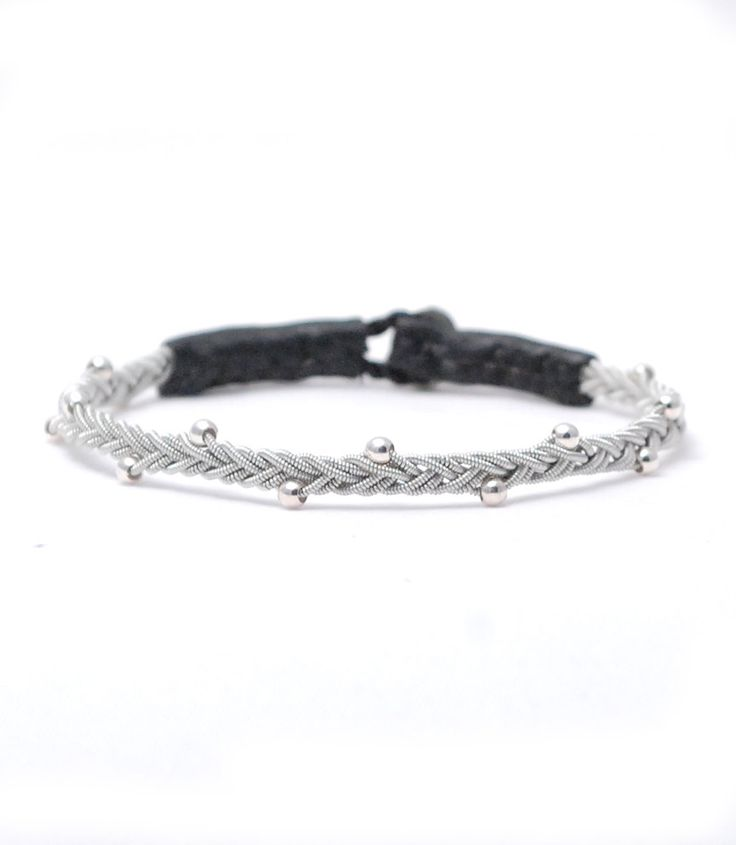 Swedish Sami Bracelet of pewter thread with 4 % silver, and reindeer leather. by SundesignSweden on Etsy