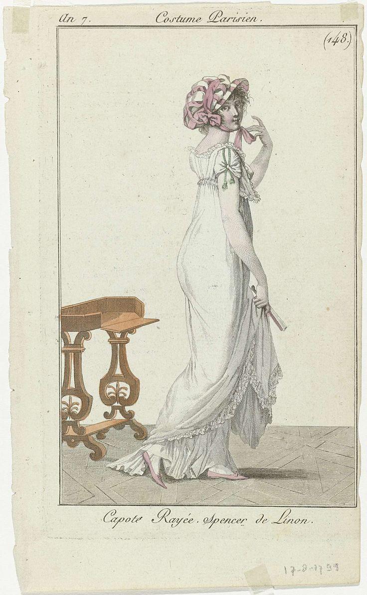 Journal des Dames et des Modes, Costume Parisien, 17 août 1799, An 7 (148.) : Capote Rayée..., Anonymous, 1799