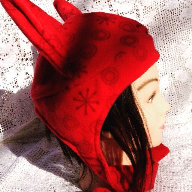 Baby it's cold outside here in central New York! Unfortunately there's still some cold winter weather left. So how about this beanie cap made from warm & cozy red fleece. Includes cat ears, and sized for a teen. Cosplay dress up, anyone?