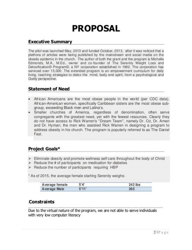 Program Proposal Template Proposal Templates Executive Summary
