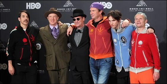 Anthony Kiedis, Jack Irons, Cliff Martinez, Chad Smith, Josh Klinghoffer and Flea pose for press photos backstage at the Rock and Roll Hall of Fame Induction Ceremony on April 14th 2012.
