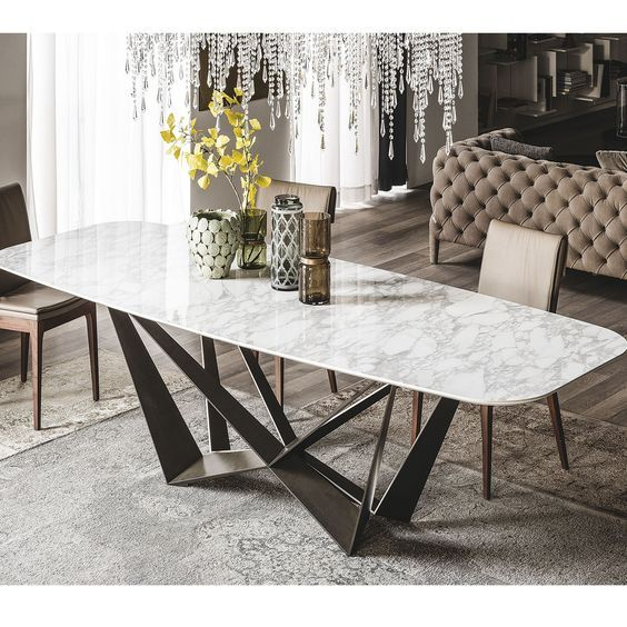 Cubierta de mesa de interior hecha de mármol. Me gusta como se ve pero no la pondría en un espacio propio.