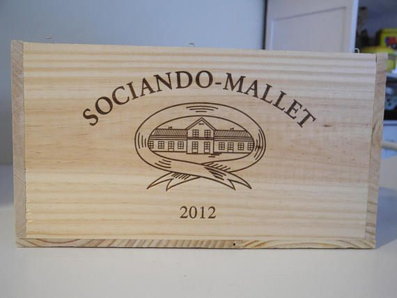 French vintage wooden wine crate Sociando Mallet