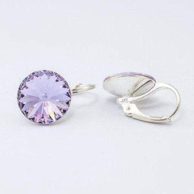 Swarovski Rivoli Earrings 12mm Violet  Dimensions: length: 1,7cm stone size: 12mm Weight ~ 3,18g ( 1 pair ) Metal : silver plated brass Stones: Swarovski Elements 1122 12mm Colour: Violet 1 package = 1 pair Price 16,90 PLN(about 4 EUR)