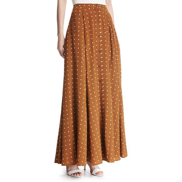 Diane Von Furstenberg Flare Silk Maxi Skirt ($498) ❤ liked on Polyvore featuring skirts, multi, brown maxi skirt, flared maxi skirt, flare skirts, button front skirt and maxi skirts