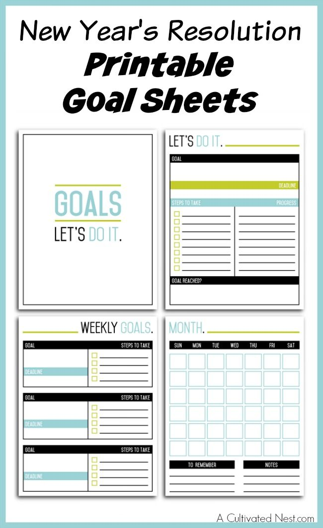 New year 39 s resolution printable goal sheets home home for New years goals template