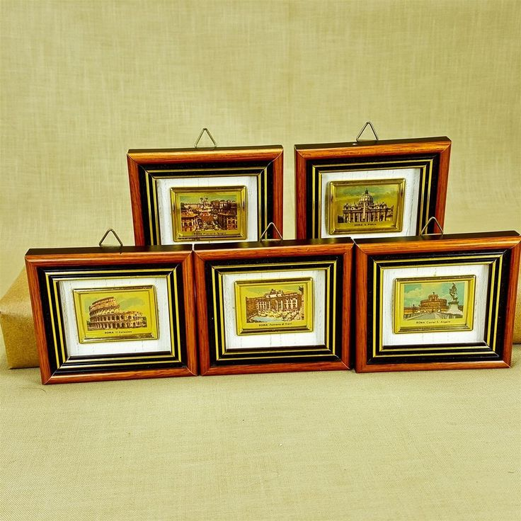 """Rome Italy 3"""" Miniature Picture Frames Set 5 Italian Points of Interest Roma"""