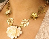 Vintage Cream Rose Bridal Necklace, Gold Bridal Jewelry, Vintage Wedding Jewelry, Gold Leaves Necklace, SASCHA