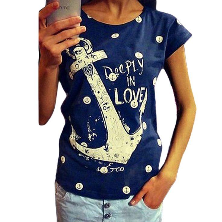 Якорь Рубашка Летом Стиль Женщин тенниски 2015 Глубоко В Любви Печатных футболка Каваи Женская Модная Одежда