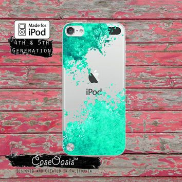 Mint Green Paint Splatter Art Tumblr Inspired Cute Case for Clear Transparent Rubber iPod Touch 5th