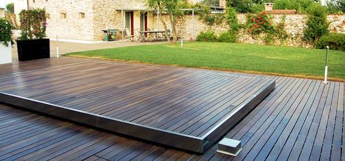 Safety pool cover sliding deck ambient 200 egoe pools - Covering a swimming pool with decking ...