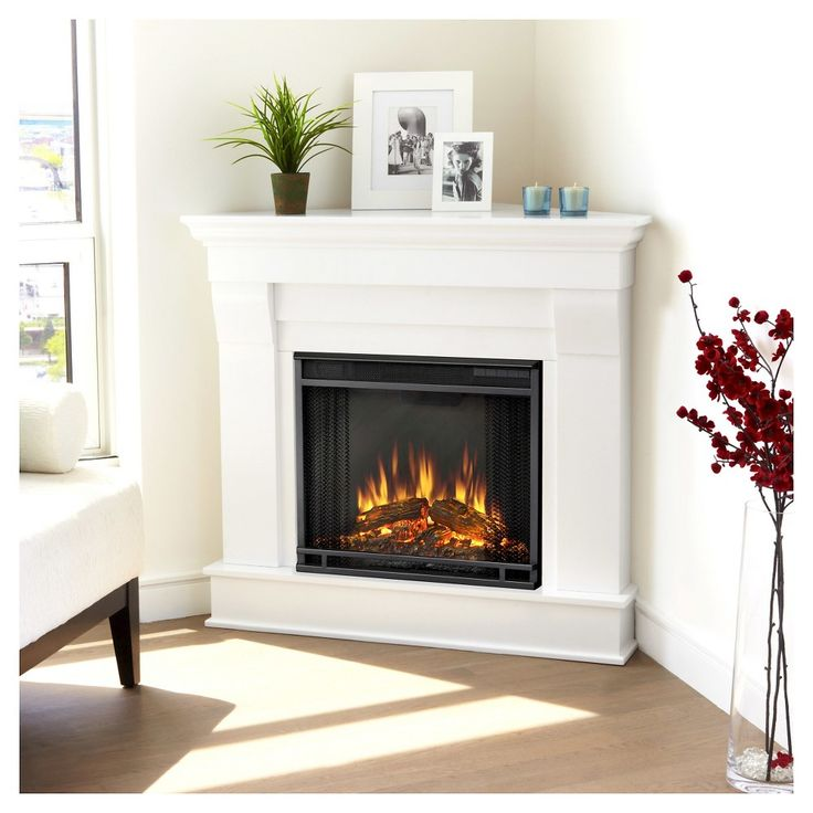Real Flame - Chateau Corner Electric Fireplace-White, White