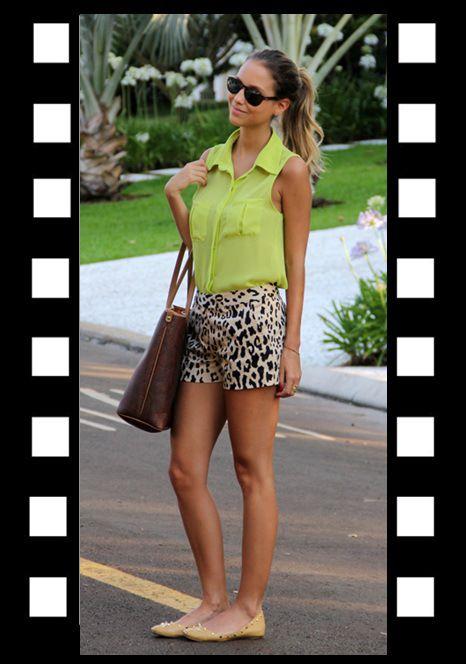 Look do dia_look para domingo_short com camisa_short com estampa de animal_camisa verde limão