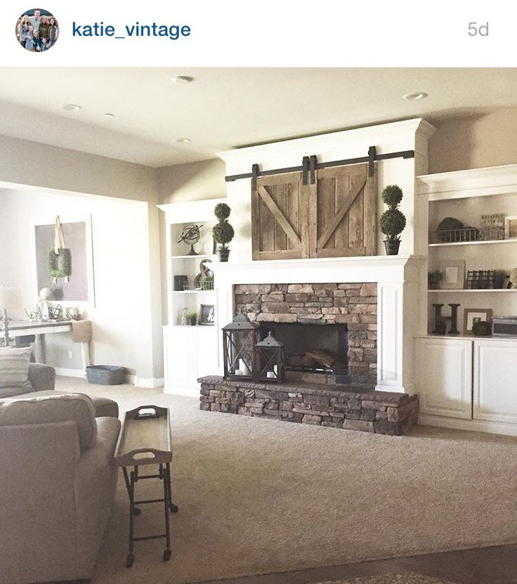 Mantle Barn Doors Over TV Fireplace