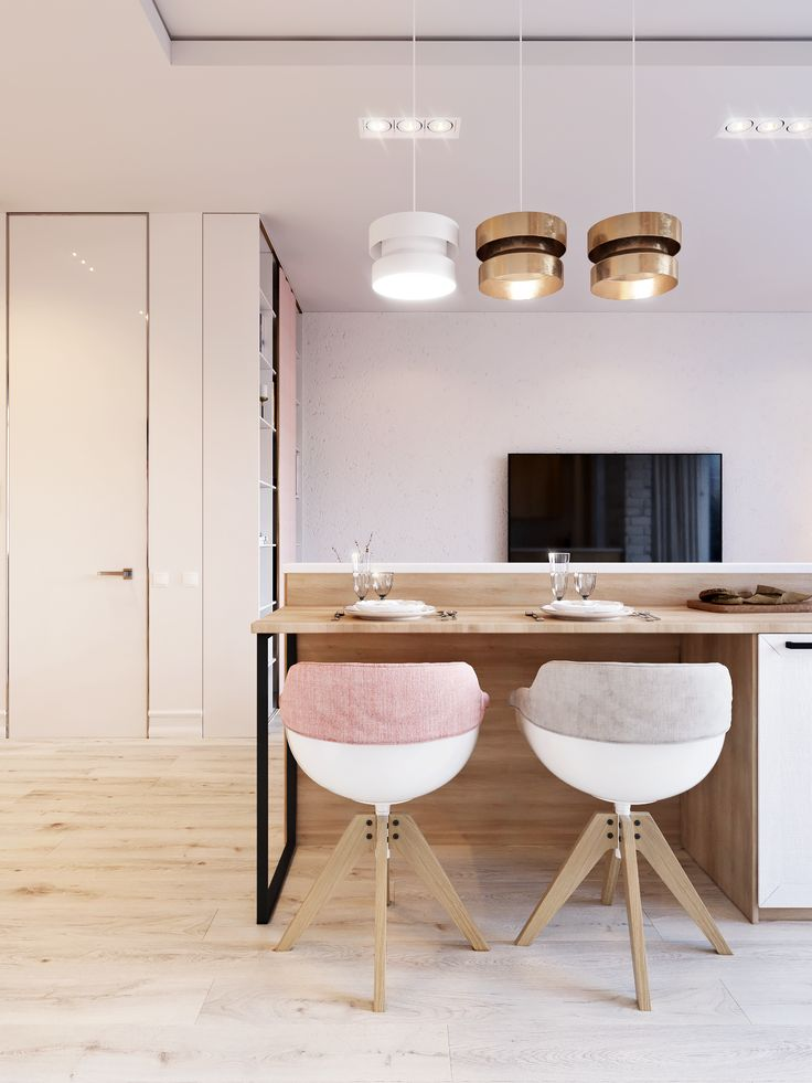 """""""Pink & White"""" is another concept design small apartment in Kiev."""