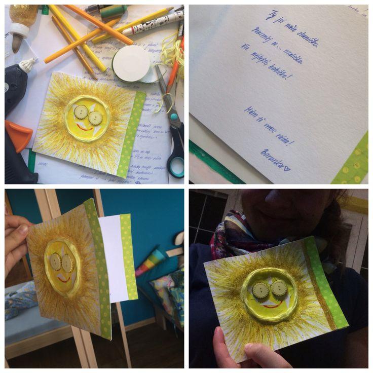Krásný výrobek žákyně prvního ročníku... střední školy?! Ale je to od srdíčka. Všechno nejlepší, babi<3 #birthday #madebymyheart #card #present #happybirthdaygranny #sun #happybirthday #birthdaycard #twinkle #sparkle #diy