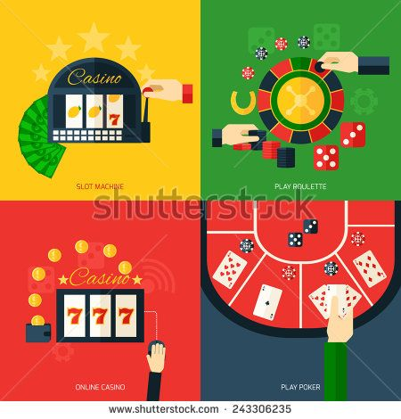 Casino design concept set with slot machine play roulette online poker icon flat isolated vector illustration