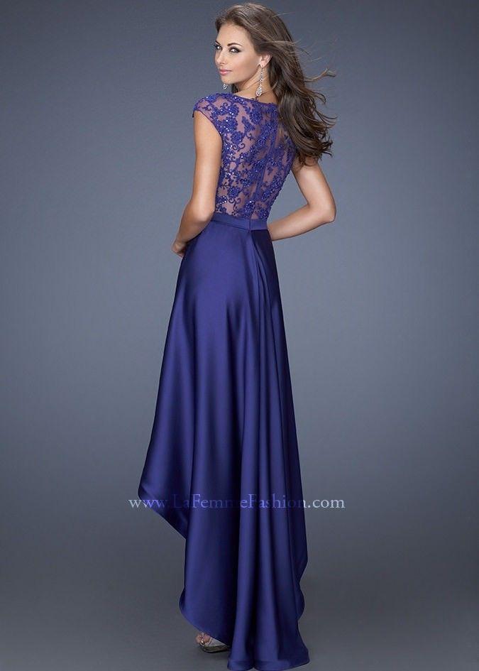 La Femme 19800 Satin High Low Dress Website Special