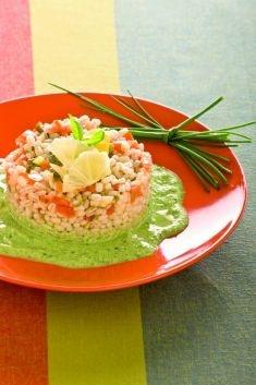 Tortini di orzo e tofu al pomodoro con crema di zucchine -