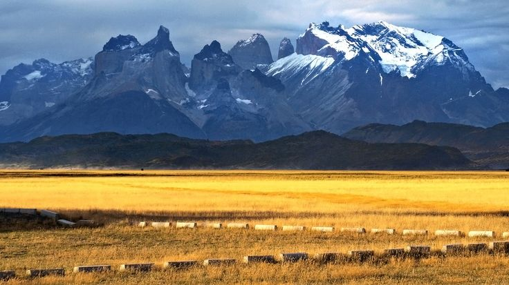 View of Torres del Paine National Park, Magallanes Region, South Patagonia, Chile