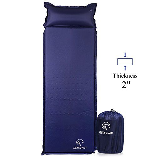 """REDCAMP Self-Inflating Sleeping Pad with Attached Pillow, Compact Lightweight Camping Air Mattress with Quick Flow Value, Blue 77""""x26""""x2""""."""