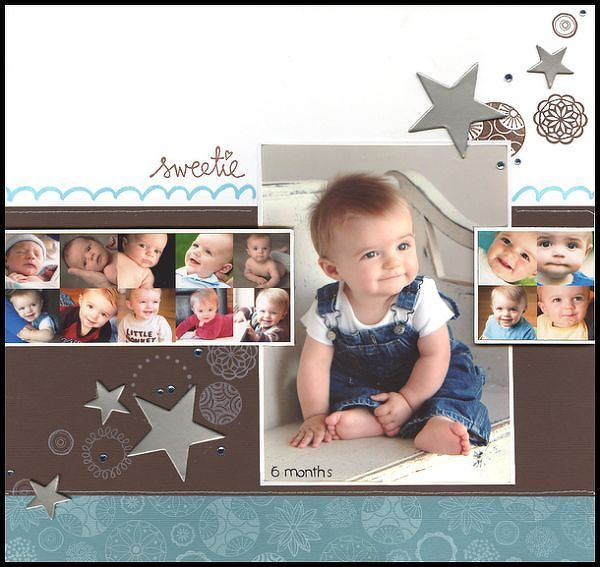 "#papercraft #scrapbook #layout  Precious Baby ""Sweetie"" Scrapping Page...with multiple photo layouts & stars.  By pescaragirl - twopeasinabucket.com."