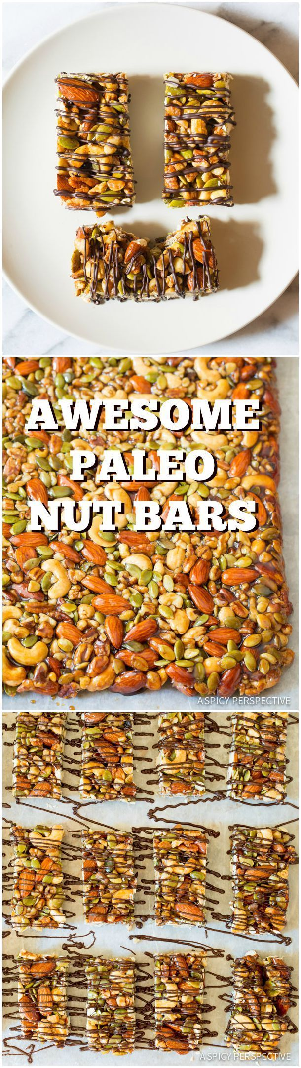 Crazy Over These Kid-Friendly Paleo Nut Bar Recipe with Chocolate Drizzle on ASpicyPerspective... #paleo #vegan #glutenfree