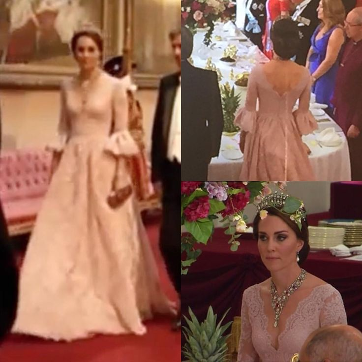 "843 Likes, 10 Comments - Duchess of Cambridge (@katemiddletonfashion) on Instagram: ""#NEW Excuse the poor quality of this photo, but here is a closer look at Kate's Marchesa gown at…"""