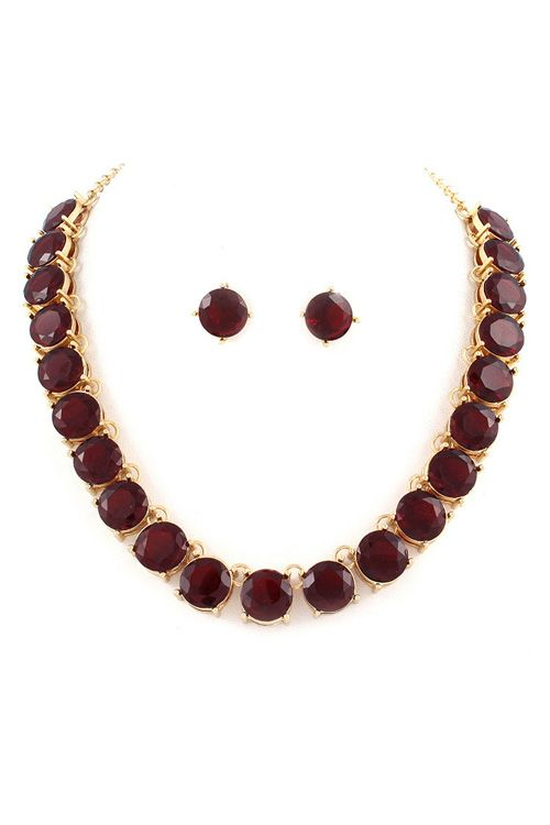 Billie Necklace Set in Ruby