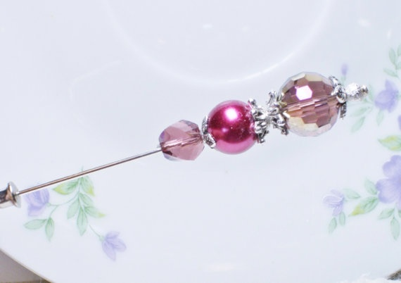 Stick Pin Beautiful Maroon Crystal Vintage Style Hijab Pin lapel pin hat pin Brooch via Etsy