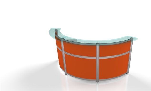 A striking curved reception desk to provide that WOW factor comes in glass transaction top, anodized Silver posts and stunning high pressure laminate Summer flame.