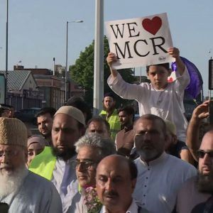 Muslims march for peace in Manchester laying flowers and praying at the site of Mondays terror att #news #alternativenews