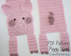 Crochet Pig Scarf Pattern by Crochetions