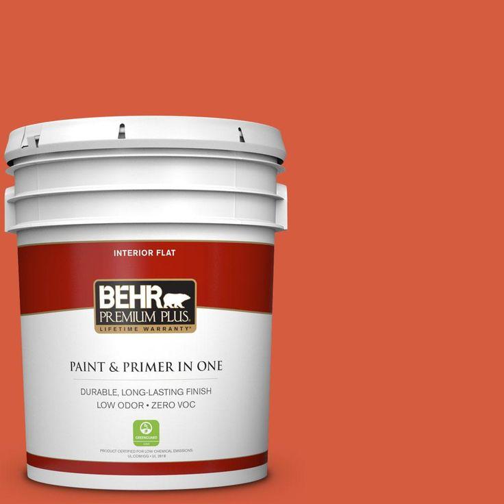 BEHR Premium Plus 5 gal. #200B-7 Fireglow Zero VOC Flat Interior Paint