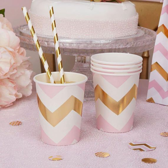 Pattern Works  Cup Pink Chevron  8 pack