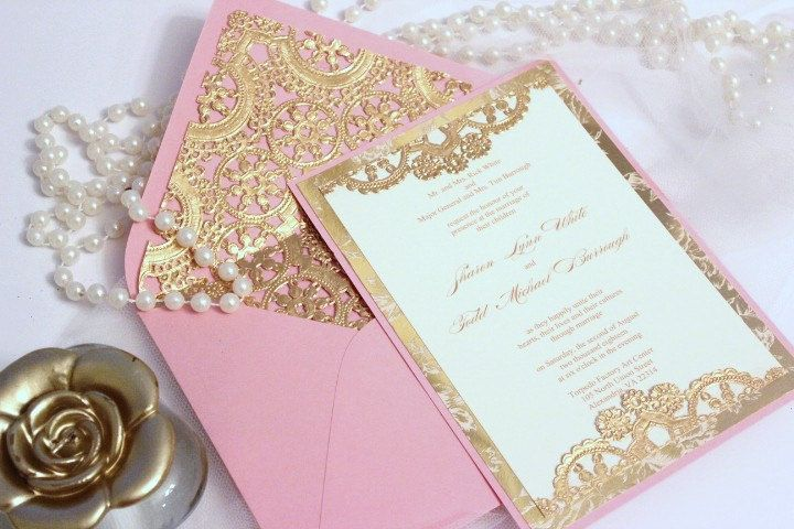 Wedding Invitation vintage Gold Lace Blush Pink Ivory. Vintage inspired wedding invitation. This invitation stands out above the rest with gold foil die cut lace. The invitation is layered with a very romatic gold and cream floral layer. Very unique and extremely elegant.