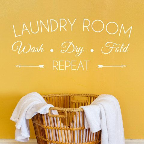 Wash Dry Fold Laundry Room Decal by DeecalFrenzy on Etsy