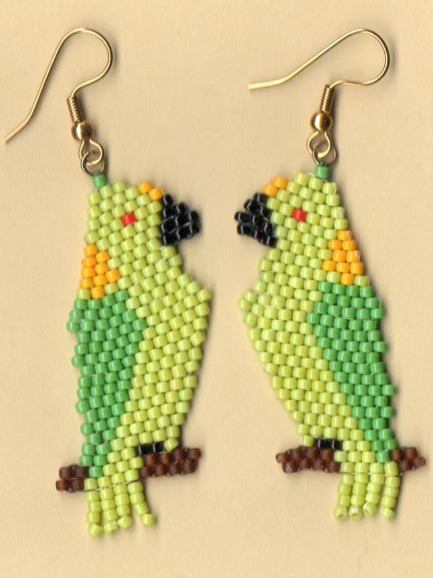 Native American Seed Bead Patterns | Beaded Yellow Nape Amazon Parrot Earrings - %%nativeworksjewelry.com ...