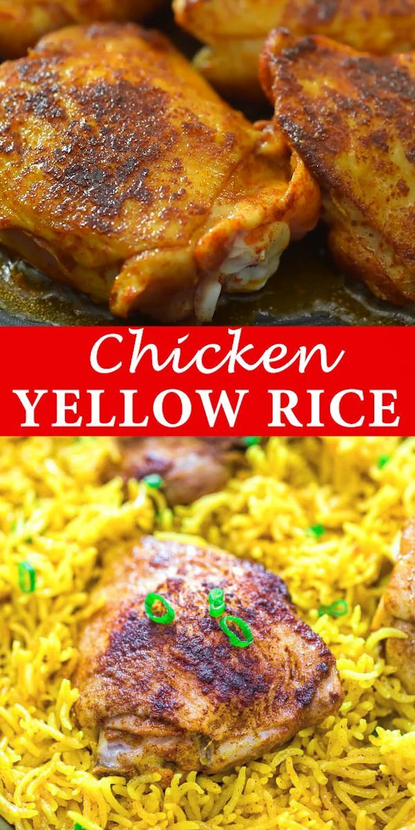 This Easy And Flavorful Chicken And Yellow Rice Skillet Makes A Quick And Delicious Dinner For The Wh Chicken And Yellow Rice Yummy Dinners Yellow Rice Recipes