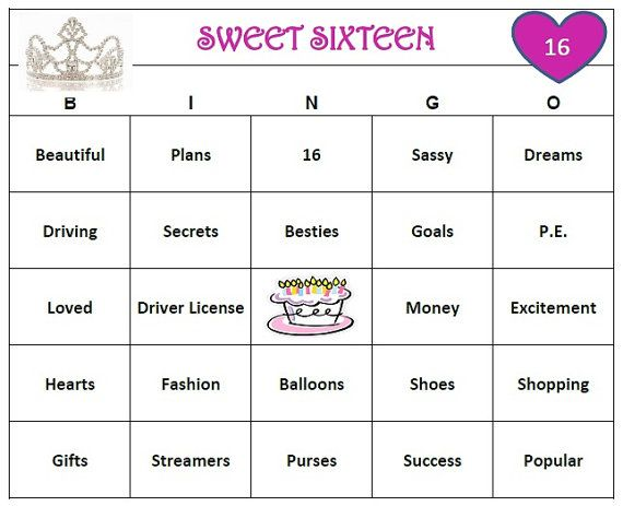 Sweet 16 Birthday Party Bingo Game 60 Cards by BuyMeSomeHappiness