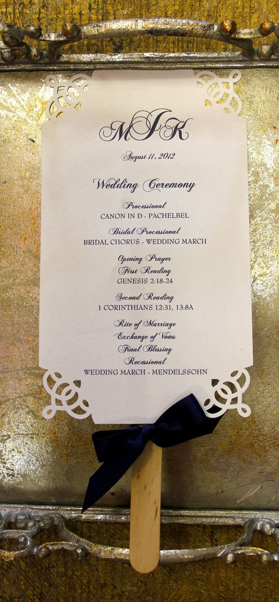 DieCut Elegant Wedding Ceremony Programs Fan by