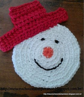 Meu Crochê Contemporâneo: Porta Copos Boneco de Neve